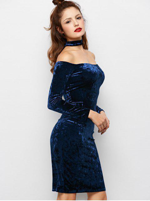 women Long Sleeve Velvet Choker Party Dress - BLUE M Mobile