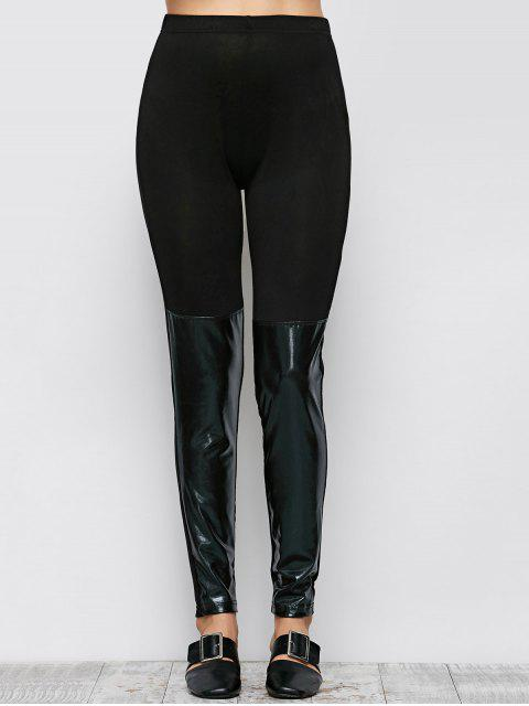 affordable Tight Fit PU Leather Panel Leggings - BLACK XL Mobile