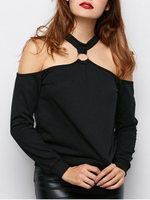 lady Metal Ring Cold Shoulder Top - BLACK XL Mobile