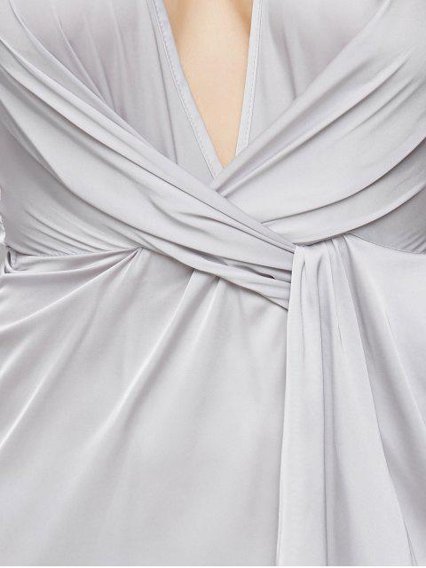 women's Low Cut Wrap A-Line Dress - GRAY XL Mobile