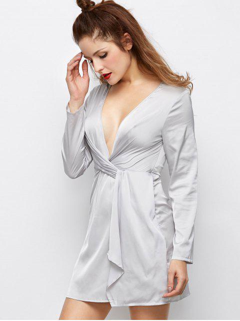 lady Low Cut Wrap A-Line Dress - GRAY M Mobile