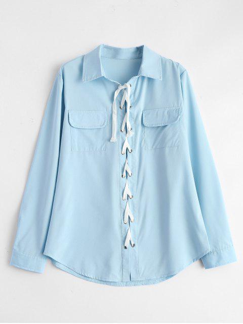 shops Lace-Up Shirt - LIGHT BLUE L Mobile