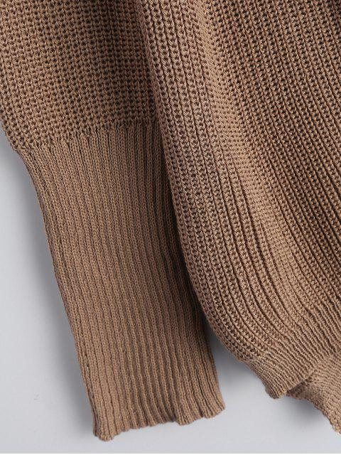 shops High Low Lace-Up V Neck Sweater - DARK KHAKI L Mobile