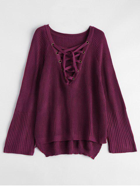 fashion High Low Lace-Up V Neck Sweater - BURGUNDY L Mobile
