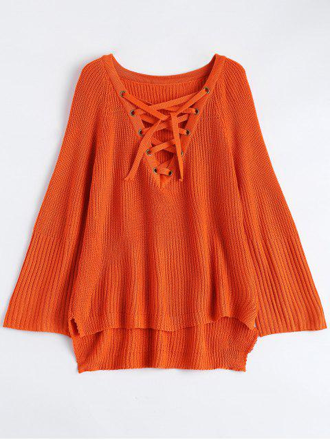 sale High Low Lace-Up V Neck Sweater - JACINTH M Mobile
