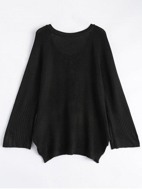 women High Low Lace-Up V Neck Sweater - BLACK S Mobile