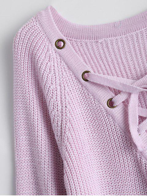 lady High Low Lace-Up V Neck Sweater - PINK S Mobile