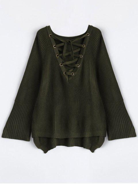 best High Low Lace-Up V Neck Sweater - ARMY GREEN L Mobile