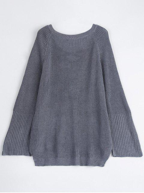 outfits High Low Lace-Up V Neck Sweater - GRAY S Mobile