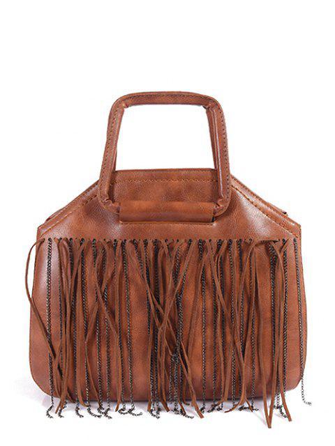 ladies Faux Leather Fringed Handbag - BROWN  Mobile
