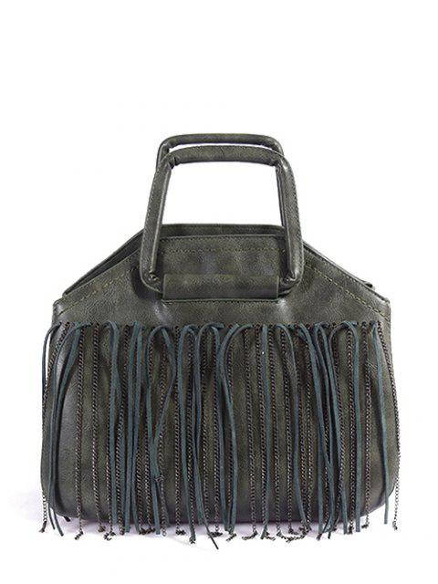 lady Faux Leather Fringed Handbag - GREEN  Mobile