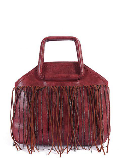 best Faux Leather Fringed Handbag - RED  Mobile
