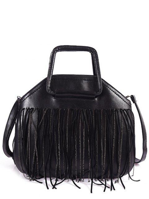 new Faux Leather Fringed Handbag - BLACK  Mobile