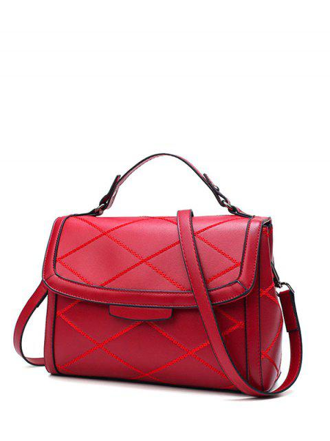 outfit Rhombic Faux Leather Handbag - WINE RED  Mobile