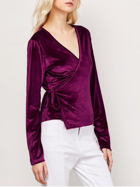 lady Long Sleeve Velvet Wrap Top - WINE RED S Mobile