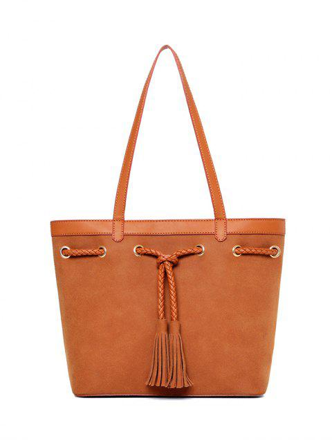 shop Braided Tassel Suede Panel Shoulder Bag - BROWN  Mobile