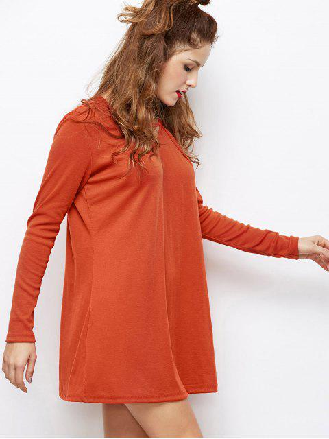 latest Long Sleeves Swing V Neck Dress - DARK AUBURN M Mobile