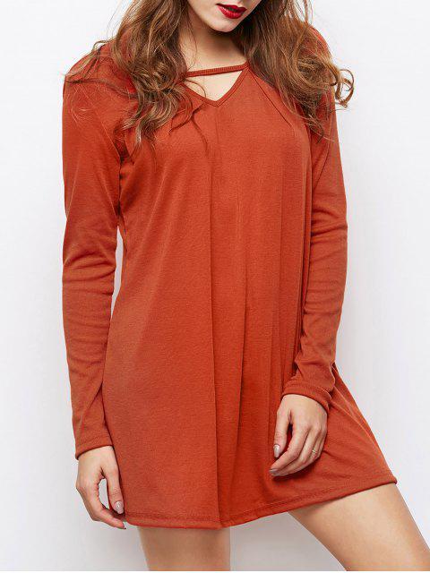 shops Long Sleeves Swing V Neck Dress - DARK AUBURN L Mobile