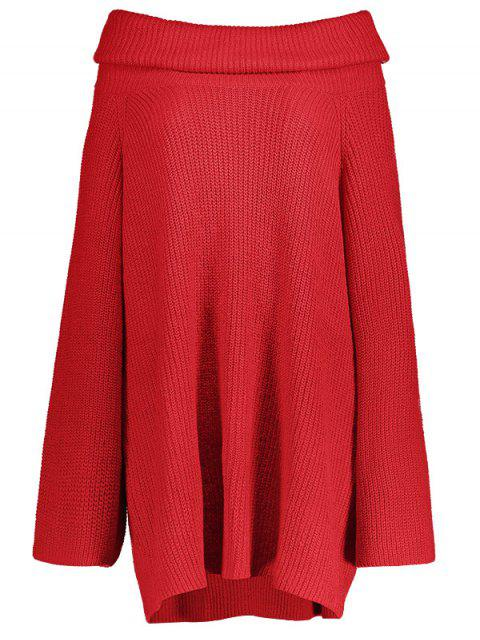 affordable Oversized Chunky Sweater - RED M Mobile