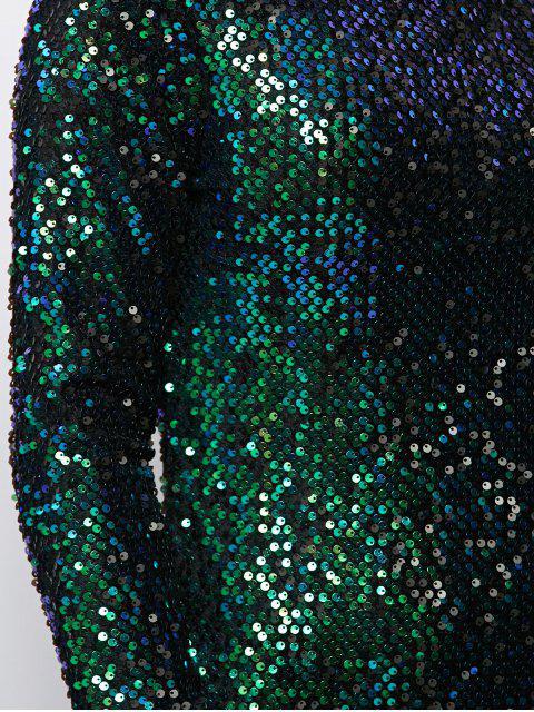 fashion Sequin Sparkly Round Neck Bodycon Dress - GREEN 2XL Mobile