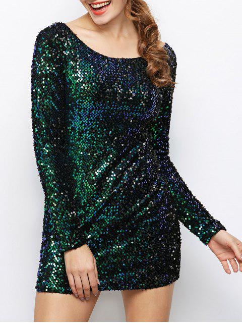 sale Sequin Sparkly Round Neck Bodycon Dress - GREEN S Mobile