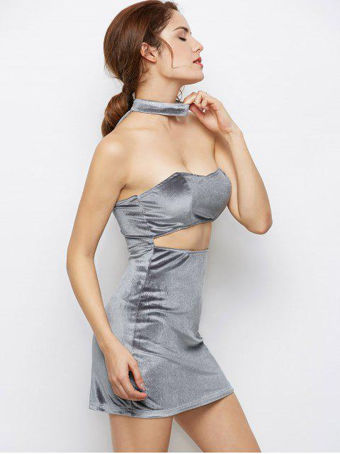 Velvet Cut Out Choker Robe moulante - Gris Clair M Mobile