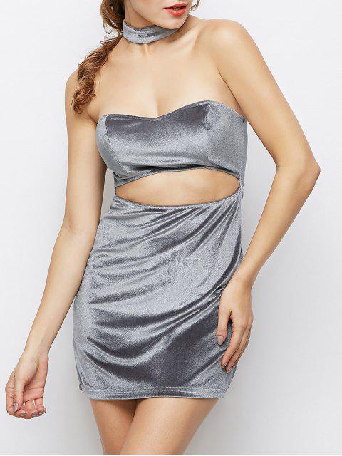 women Velvet Cut Out Choker Bodycon Dress - LIGHT GRAY M Mobile