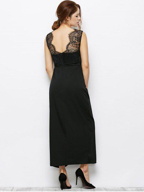 sale Lace Panel Sleeveless Prom Maxi Dress - BLACK 2XL Mobile