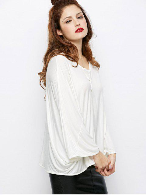 unique Dolman Sleeve V Neck Loose Blouse - WHITE M Mobile
