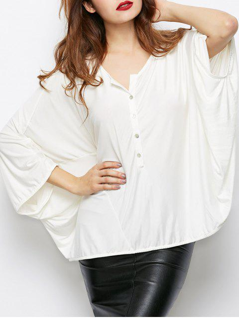 sale Dolman Sleeve V Neck Loose Blouse - WHITE S Mobile