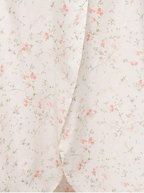 fancy Asymmetrical Floral Skirt - PINK S Mobile