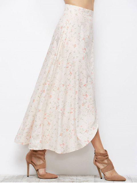 chic Asymmetrical Floral Skirt - PINK M Mobile