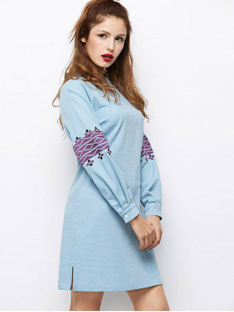 latest Embroidered Puff Sleeve Dress - LIGHT BLUE 2XL Mobile