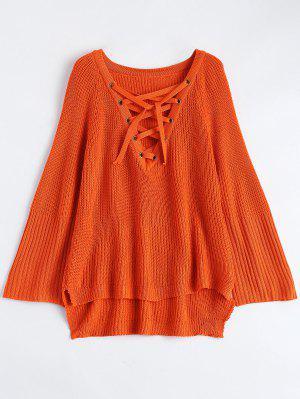 High Low Lace-Up V Neck Sweater - Jacinth L