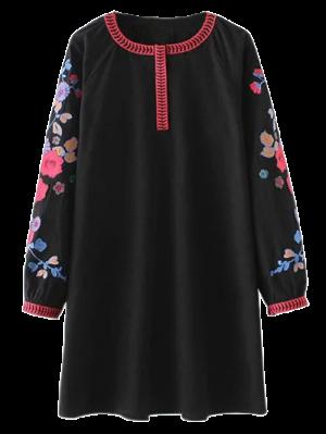 Un Vestido De La Túnica Bordada Línea - Negro M