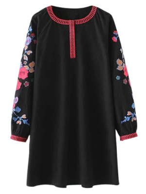 A Line Embroidered Tunic Dress - Black S