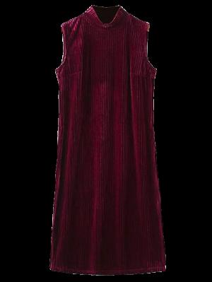 Hendidura Lateral De Cuello Alto Vestido Plisado - Burdeos L