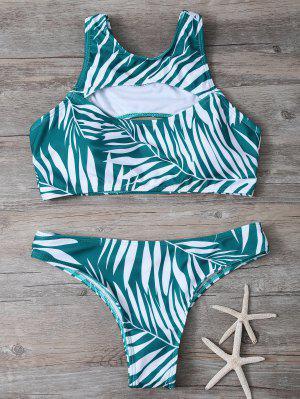 Tropical Print Cut Out Bikini - Vert M