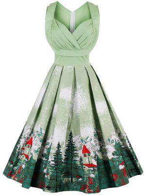 Midi High Waist Sleeveless Print Sweetheart Dress - Grass Green S