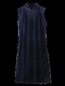 Buy Side Slit High Collar Pleated Velvet Dress - PURPLISH BLUE M