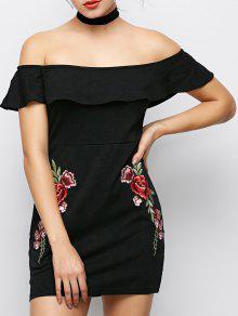 Vestido Ajustado Floral Hombros Descubiertos - Negro M