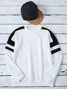 Casual Color Block Sweatshirt - White S