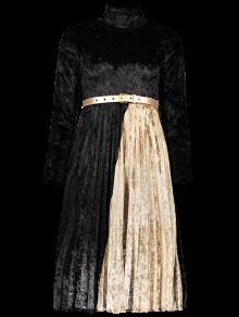 Sleeve Mock Long Neck Robe Plissée - Noir L