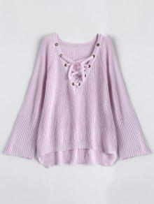 High Low Lace-Up V Neck Sweater - Pink S