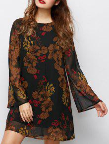 Bell Sleeves Printed Dress - Black S