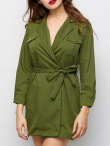 Vestido Casual Manga Larga Con Cordones - Verde M