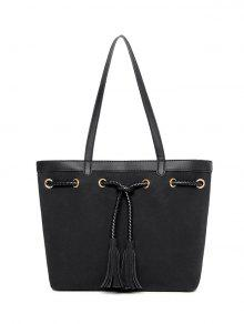 Braided Tassel Suede Panel Shoulder Bag - Black