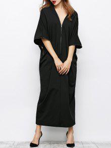 Zippered V Neck Loose Maxi Dress - Black M