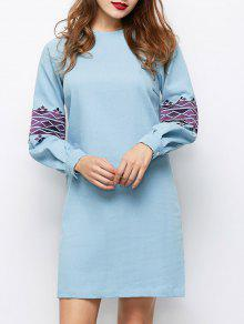 Embroidered Puff Sleeve Dress - Light Blue S