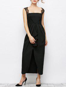 Buy Lace Panel Sleeveless Prom Maxi Dress - BLACK L